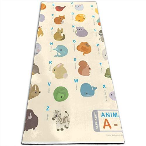 IPOXK Yoga Mat with Mesh Bag Non-Slip Animal Alphabet Poster Exercise Mat for Women/Men