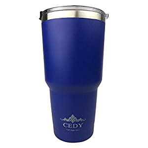 30 oz Stainless Steel Vacuum Insulated Tumbler with Lid, Double-Wall Vacuum Insulation Keeps Drinks Hot or Cold Multiple Colors ((Bottom Painted with Spill Proof Lid) (Blue))