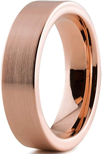 Tungsten Wedding Band Ring 6mm for Men Women Comfort Fit 18K Rose Gold Plated Plated Pipe Cut Flat Brushed Polished Size 8.5