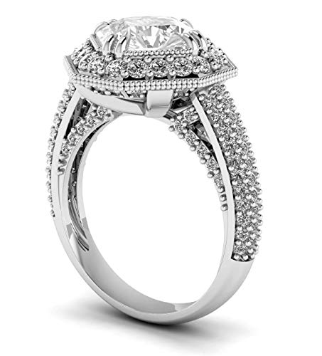 3.00 Carat Cushion Cut Diamond Halo Engagement Ring with a 2.00 Carat Moissanite Center 14k white ()