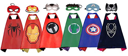 Superhero Dress Up Costume,6 Set of Double-Sided Satin Capes with Felt Masks for Kids]()