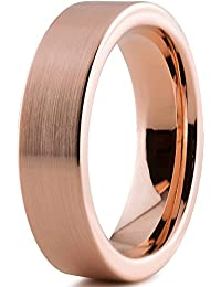 Tungsten Wedding Band Ring 6mm for Men Women Comfort Fit 18K Rose Gold Plated Pipe Cut Flat Brushed Polished