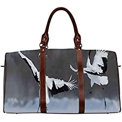 "Wildlife Decor Multi function Travel Bag,Dancing Pair of Red Crowned Crane with Open Wings in Flight Romantic Bird Print for Dating,18.62""L x 8.5""W x 9.65""H"