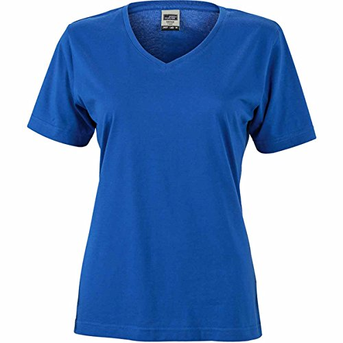 JAMES & NICHOLSON - Camiseta - Básico - Manga corta - para mujer Azul Real