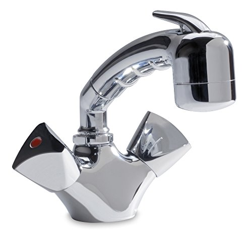Ambassador Marine Trinidad- Head/Shower Combo Faucet (Small Chrome Sprayer - No Hook, 6-Feet Black Rubber Hose), - Marina Shower