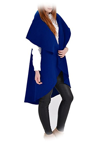 Catch One Clothing - Manteau Cardigan Cape Sans Manches Long Effet Cascade Mode Femmes - EU 42, Bleu roi