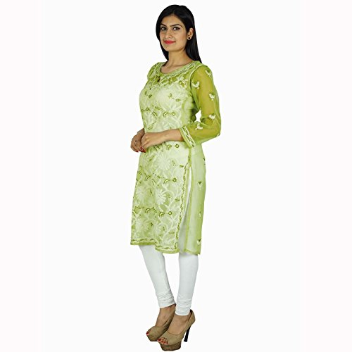 Diseñador de India étnicas Georgette Kurti regalo informal para ella Chikan bordado Kurta Verde y blanca Off-1