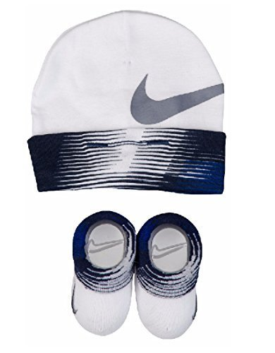 Nike Booties - Nike Baby Boys Big Swoosh Graphic Print Hat & Booties Set, White/Binary Blue/Paramount Blue, 0-6M