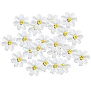 KODORIA 100pcs Artificial Flower Heads Silk Daisy Flower Heads for DIY Baby Shower, Home Party Wedding Favor Decoration DIY Craft Fake Flowers - Beige 83