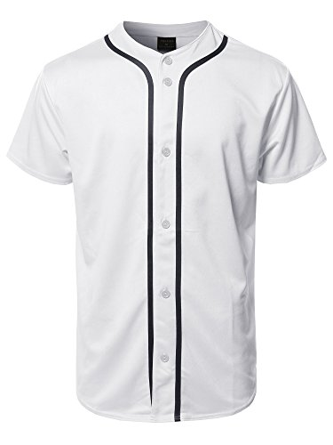 Youstar Solid Front Button Closure Athletic Baseball Inspired Jersey Top White ()
