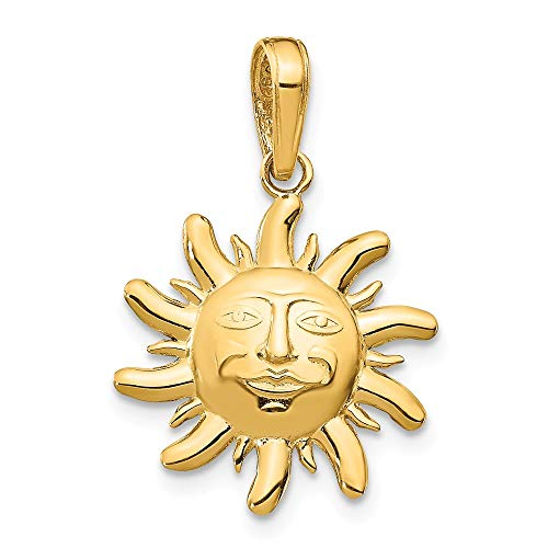 14k Yellow Gold Small Sun Pendant Charm Necklace Celestial Fine Jewelry Gifts For Women For Her