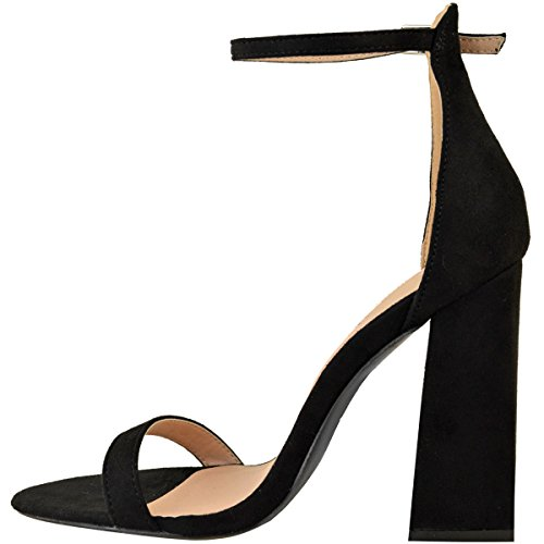 altos Tacones Heelberry® Suede Womens tamaño Fashion Block Faux Nuevo Correa Ladies Barely del Shoes Thirsty Negro There Sandals tobillo nXUggqY
