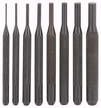 8 Piece Pin Punch Set 4 inch Long with Knurled Handle 1/16'', 3/32'', 1/8'', 5/32'', 3/16'', 7/32'', 1/4'', 5/16''