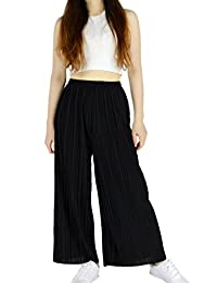 YSJ Women's Pleated Cropped Pants Solid Straight-leg Wide Leg Culottes Trousers