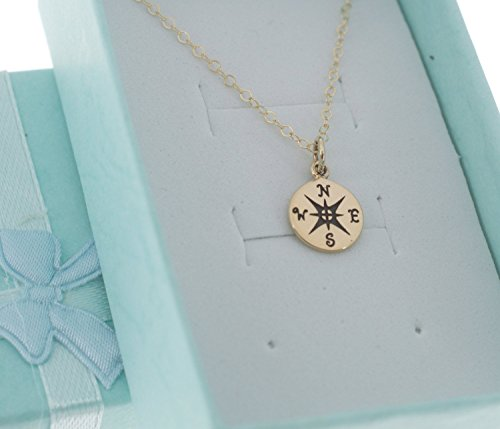 Natural Bronze Flat - Little girl's compass necklace in natural bronze on a 14