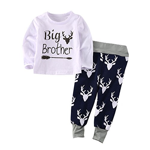 Newborn Baby Boys Girls Little Sister Big Brother Bodysuit Romper With Deer Pant Clothing Set (12-18 Months, - Suit Style Blues Brothers