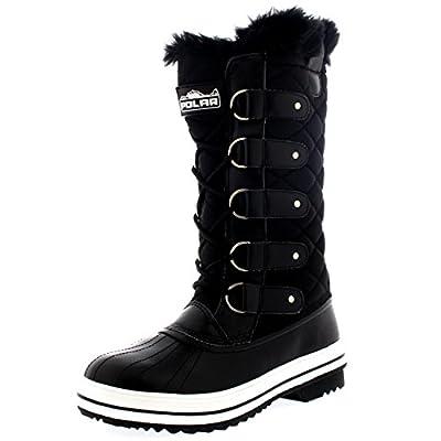 Womens Snow Boot Nylon Tall Winter Snow Waterproof Fur Lined Warm Rain Boot