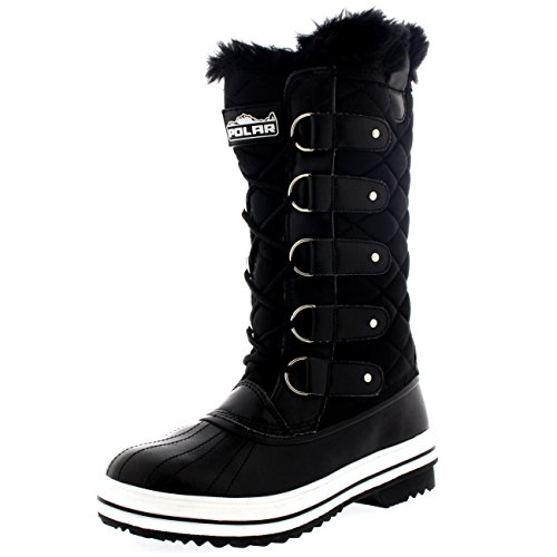 Polar Womens Snow Boot Nylon Tall Winter Fur Lined Snow Warm Waterproof Rain Boot - Black - 7-38 - CD0025