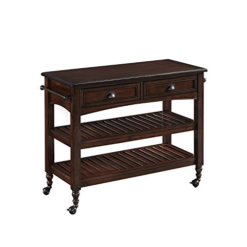 Home Styles Country Comfort Kitchen Cart with Wood Top, Aged Bourbon Finish