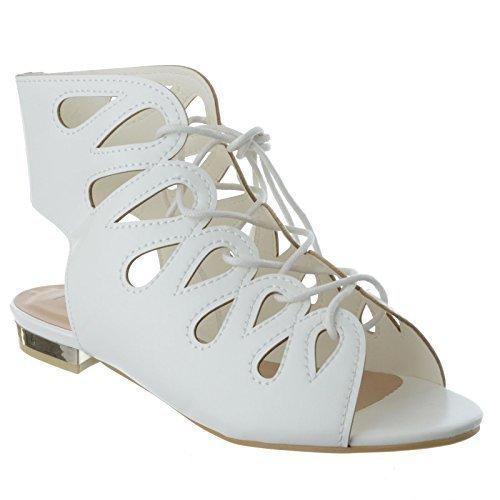 Damen Spitze zum Schnüren flach niedriger Absatz Gladiator Sommer Sandalen ausgeschnitten Schuh Größe weiß Kunstleder