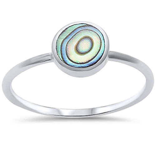 (Blue Apple Co. Solitaire Fashion Petite Dainty Trendy Solitaire Ring Round Simulated Rainbow Abalone 925 Sterling Silver)