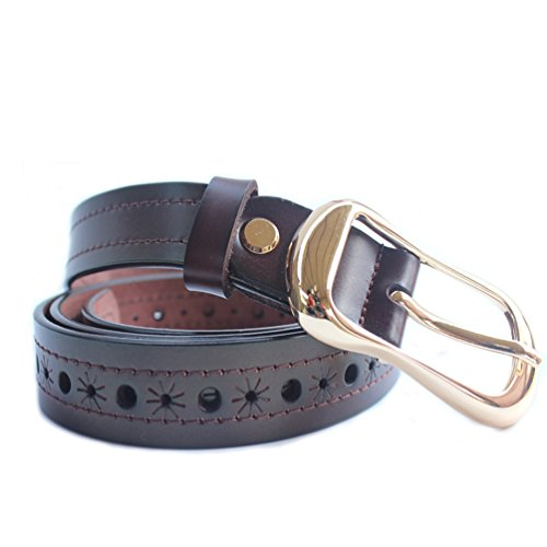 H-Time Women's Belts for Jeans, Hollow Out Leather Belts for Women, Coffee, Up to 34'' Waist(110cm belt) by H-Time (Image #6)