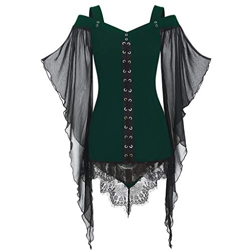 MIS1950s Nightmare Before Christmas,Womens Gothic Criss Cross Lace Witch Dress Butterfly Sleeve T-Shirt Tops (XL,
