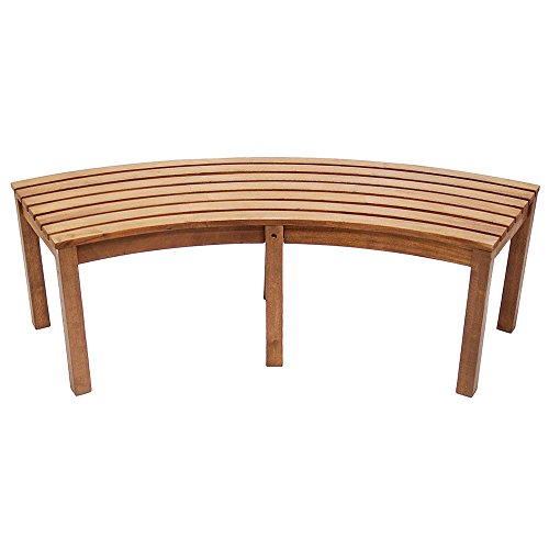 Achla Designs Curved Backless Bench (Outdoor Wooden Bench Seat)
