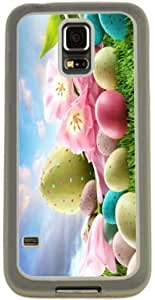Rikki KnightTM Easter Egg with Pink Spring Flowers Design Samsung? Galaxy S5 Case Cover (Clear Rubber with Bumper Protection) for Samsung Galaxy S5 i9600
