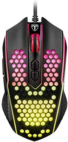 PICTEK Honeycomb Gaming Mouse, RGB Wired Mouse 8000 DPI Adjustable, 8 Programmable Buttons, Ergonomic Game USB Computer Mice