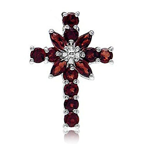 1.2ct. Natural Garnet 925 Sterling Silver Cross ()