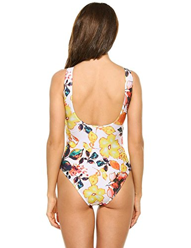 Hannah Jen New Women Front Lace Up One-Piece Bikini Sexy Print Swimwear, L MulticolorLarge
