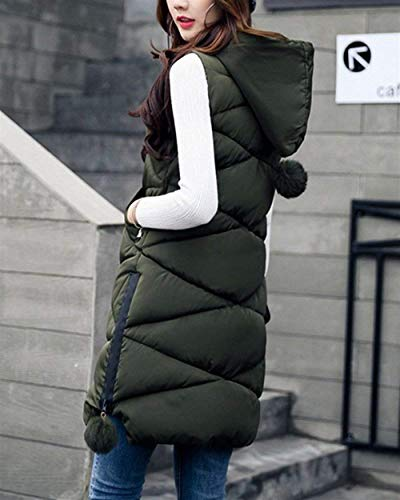 Chaleco Cómodo Acolchado Encapuchado Sin Espesar Grün Caliente Mangas Otoño Largos Joven Women Pluma Elegante Mujer Invierno Casual Camisolas Abrigos rrAOqHpw