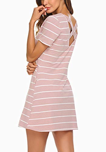 Feager Women's Casual Striped Criss Cross Short Sleeve Summer Mini Dress with Pockets (XS, ()