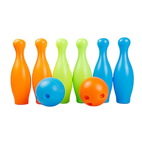 Colorful Kids Big Plastic Bowling Ball Set, 2 Balls And 6 Pins by Kylin Express