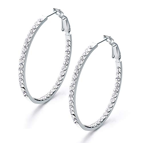 SBLING Platinum Plated Copper Inside-Out Hoop Earrings for Women Made with Swarovski Crystals (1.57
