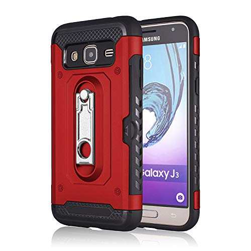 Armor Express - Galaxy Sky Case,Galaxy J3V / J3 V/Amp Prime / J3 (2016) 6 / Express Prime/Sol Case, Tznzxm Card Slots Wallet Holder Armor Dual Layer 2 in 1 Heavy Duty Protection with Kickstand for Samsung J3 Red
