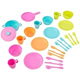 KidKraft 63319 27-Piece Bright Cookware Pretend Toy Set, cooking & eating utensils and accessories set for kids play kitchen