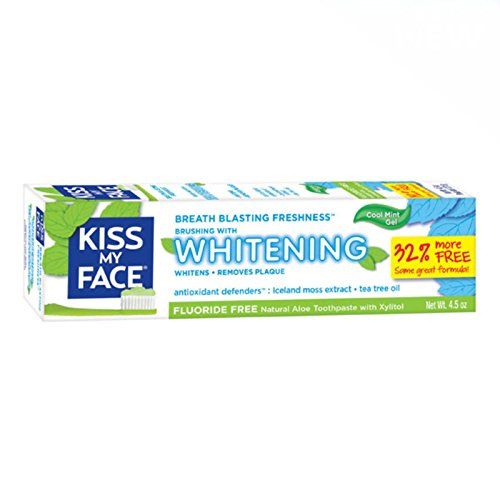 Kiss My Face, Fluoride Free Whitening Toothpaste, Cool Mint Gel, 4.5...