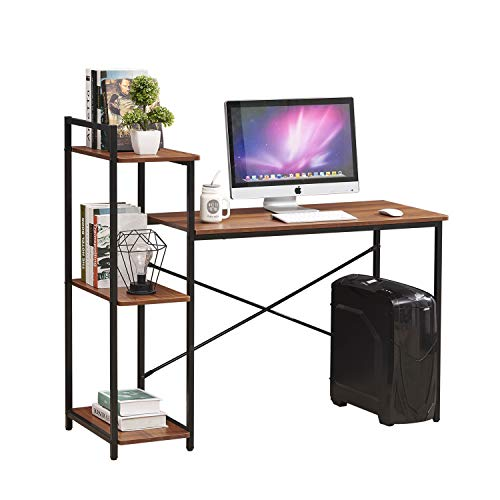 H.J WEDOO Computer Desk with Shelves 3 Tier, Versatile Office Table Desk Bookshelf, Industrial Vintage Bookcase Writing Study Workstation Laptop Table for Living Room Home Furniture,Walnut
