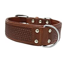 "Angel Pet Supplies 11031 Genuine Dog collar. 26"" X 2"", Brown. Padded and Western Basket Tooled 100-Percent Argentinean cowhide. Elite (SANTA FE) Necks: 20""-24"""
