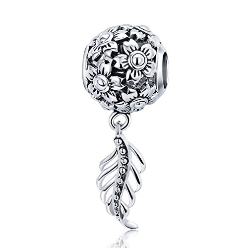 BAMOER Daisy Flower Charm 925 Sterling Silver Daisy Feather Dangle Pendant Charm for DIY Snake Chain Bracelet Women Gift
