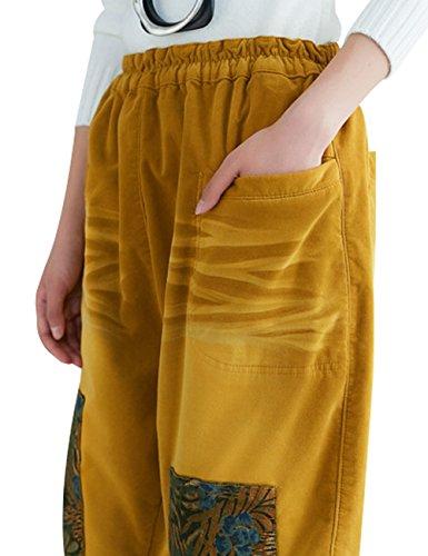 Pantaloni Youlee 1 Elastica Vita Donne Harem Giallo Stile ttRq7Ow