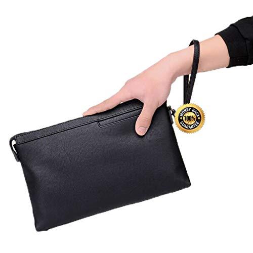Envelope clutch Bag for men and women Leather Purse Wallet Handbag women clutch purse Black