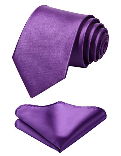 """Mens Solid Violet Tie Classic 3.4"""" width Necktie and Pocket Square Set with Gift Box by HISDERN"""