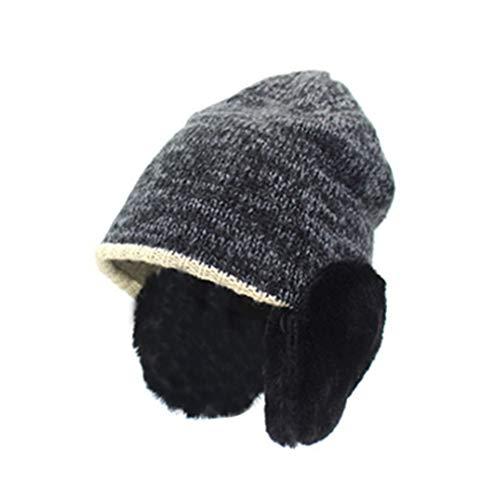 STARSTARTS Autumn and Winter New Imitation Rabbit Hair Ear Hat Men and Women Earmuffs Knit Hat C3 56CM-58CM