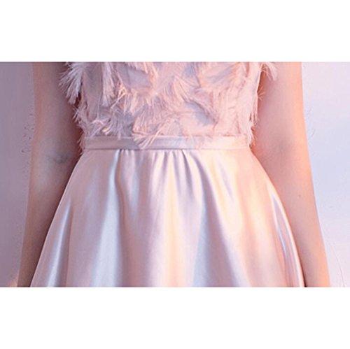 Party Brautjunferkleid Atmosphäre Rosa Schal Weiblich mit Edle Schal Elegante MoMo Dinner hängenden Lange Abendkleid Rosa Rock Hals qCwxtP