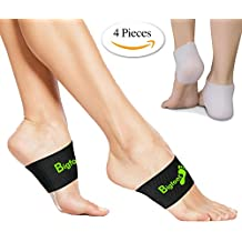 Copper Arch Support Compression - 2 Plantar Fasciitis Braces / Sleeves & 2 Silicone Heel Supports - Foot Care, Heel Spurs, Feet Pain, Flat Archesfor Men Women
