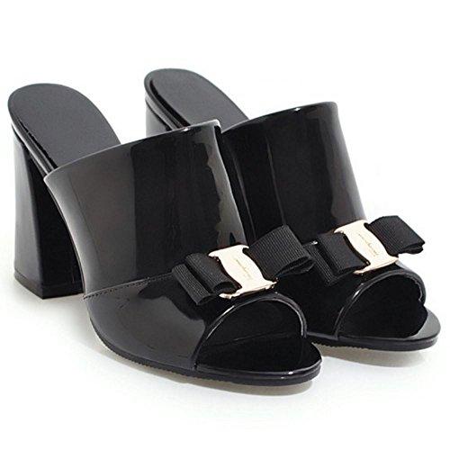 su Black Sandali Zanpa Mode Donne Mules Heels Scivolare OpO6q0