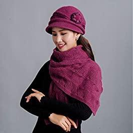 DMXYZZM Knitted Hat Women Winter Hats Caps Elegant Flower Knitted Hat Scarf Sets Female Fashion Lady Middle-Aged Cap Thick Beanie
